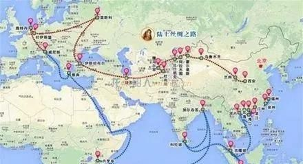 因为中国搞的是欧亚大陆上的经济走廊,就是高速铁路,公路,基础设施,搞图片