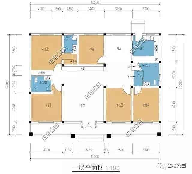 农村四房一厅设计图