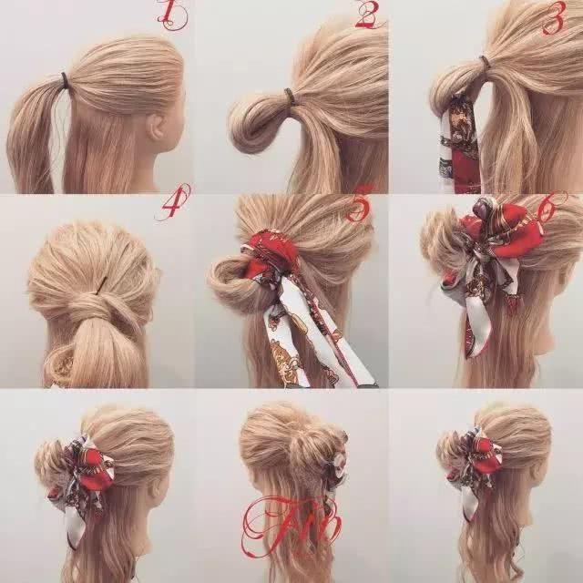长发的妹子可以尝试用丝巾编一个简单的编发,好看又方便.