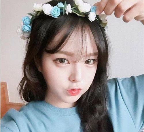 日韩范的甜美风的中长发很适合长相甜美女生,空气刘海 中长卷发甜美修图片