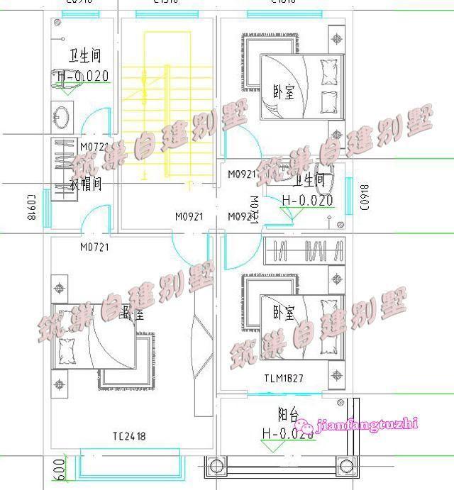 80平米农村三层自建房设计效果图cad图纸齐全小户型别墅施工图