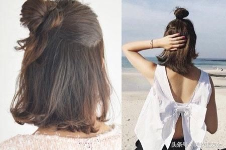 更重要的是,这款发型不论是扎丸子头还是半丸子头都超级适合,有点可爱