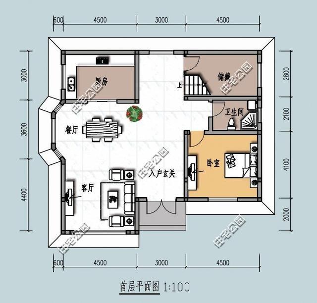 新农村别墅12米X11米,平面图布局超好,效果图难看这套改版了