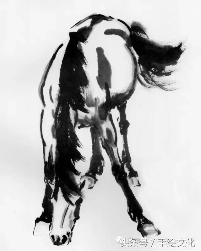 国画大师徐悲鸿 画马 的教程,经典收藏备用