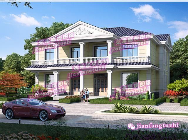 18x13米乡村二层双拼别墅农村两户自建房设计效果图cad图纸