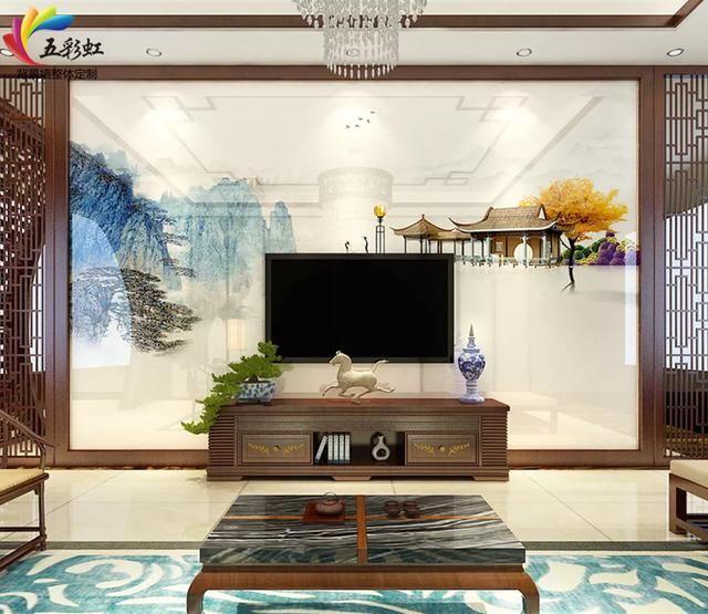 新中式装修风格电视背景墙通透,敞亮,灵动
