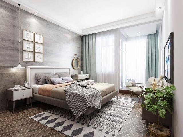 沈阳装修公司推荐北欧风格的卧室设计:墙面,哑光的木地板更有质感,在图片
