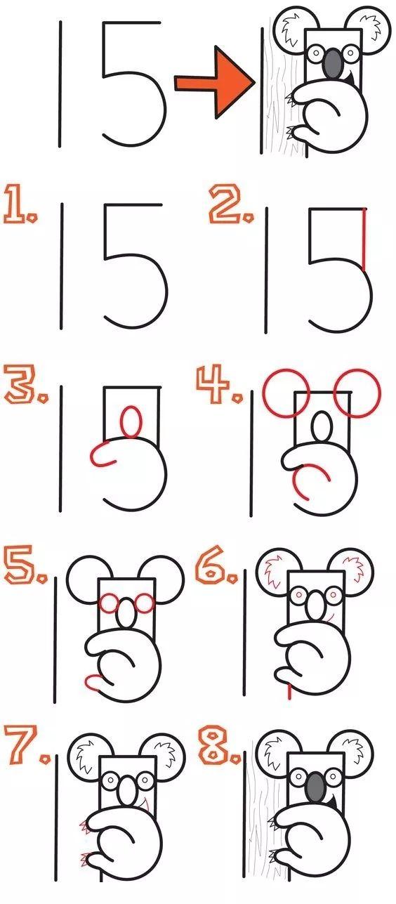 0-10数字创意画画_用数字画动物