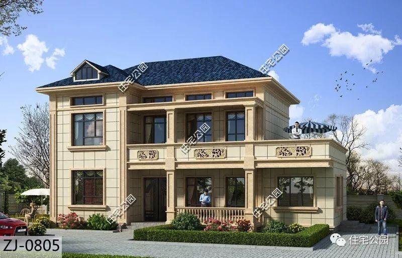 8,经典欧式外观造型,占地百余平,多入户门,阁楼设计.