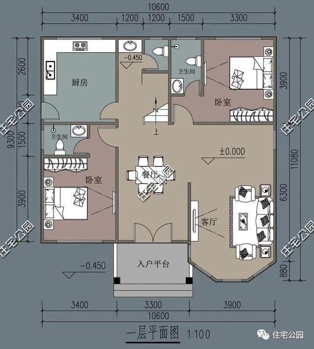 10.6x11米轻钢农村别墅,堂屋露台多卧室户型窗,大家都