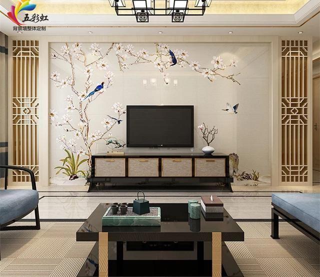 13,新中式风格微晶石背景墙搭配缕空雕花装修效果图