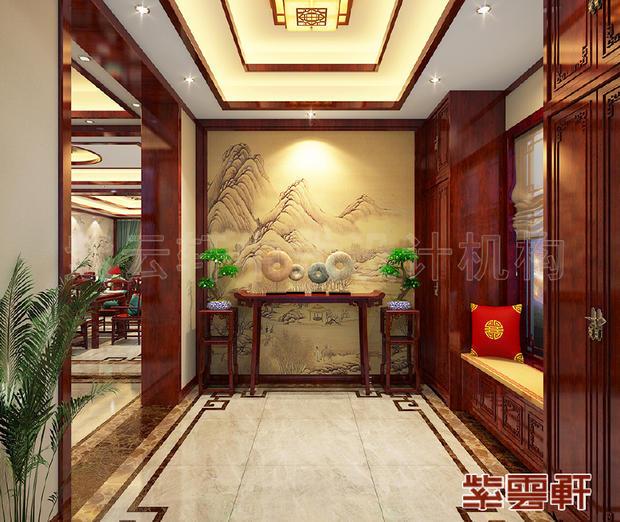 中式装修时入户门对客厅,玄关可以这样设计!图片