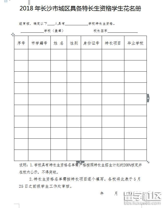2018长沙市高中普通高中招收特长生实施办法郑州107军训都中学干城区嘛图片