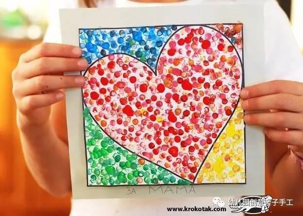 幼儿园亲子手工美术画:点彩画纽扣画毛线画等