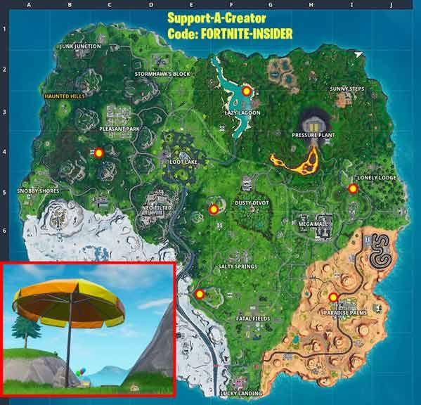 堡垒之夜在单局比赛中探访大型沙滩伞和巨型橡皮鸭任务攻略