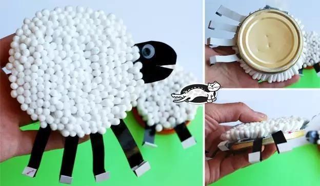 卡纸绵羊粘贴画   毛线小绵羊   毛线纸团小绵羊   硬纸板纸巾绵羊   花菜