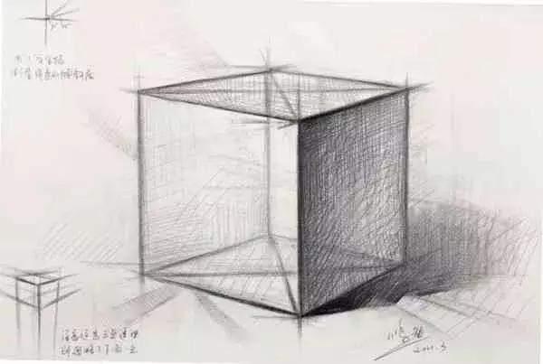 那么对于我们新手来说,画正方体不难,难就在它的透视结构不好把握.