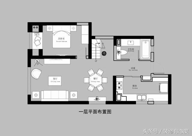 二楼房空间流畅,结构合理,设计中强调空间的对比美,在采用直接照明的