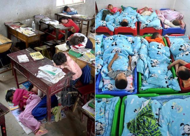 右图为2017年,幼儿园的孩子们用上了独立的童床.