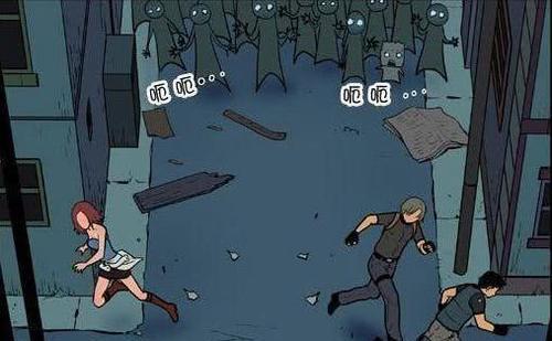 搞笑漫画:丧尸拜倒在邻里的脚下美女漫画图片