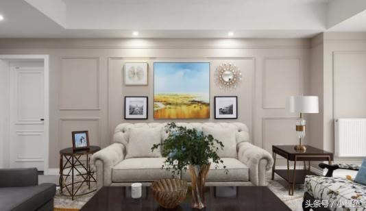 浅奶咖色背景墙采用石膏线打造出护墙板造型,呈现经典美式背景墙
