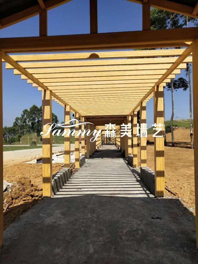 混凝土,钢结构等建筑想做成仿木效果,有什么办法呢?