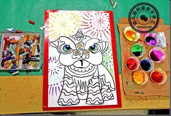幼儿园创意美术手工:陪孩子找年味?来画幅新春舞狮吧!
