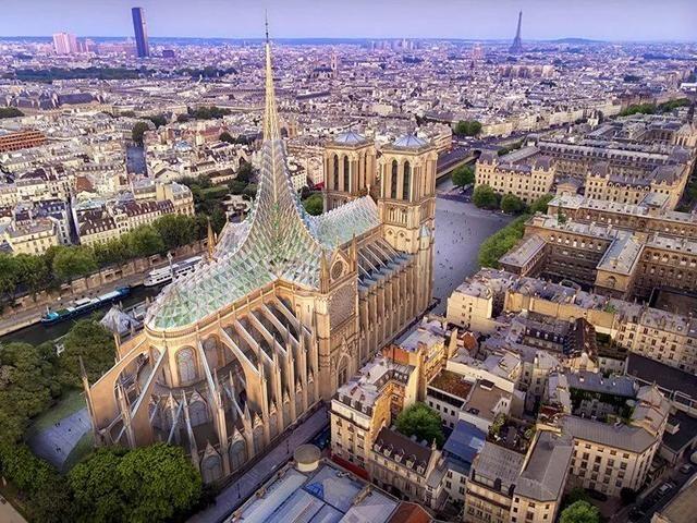 大火后的巴黎圣母院,也许有个玻璃尖顶也不错