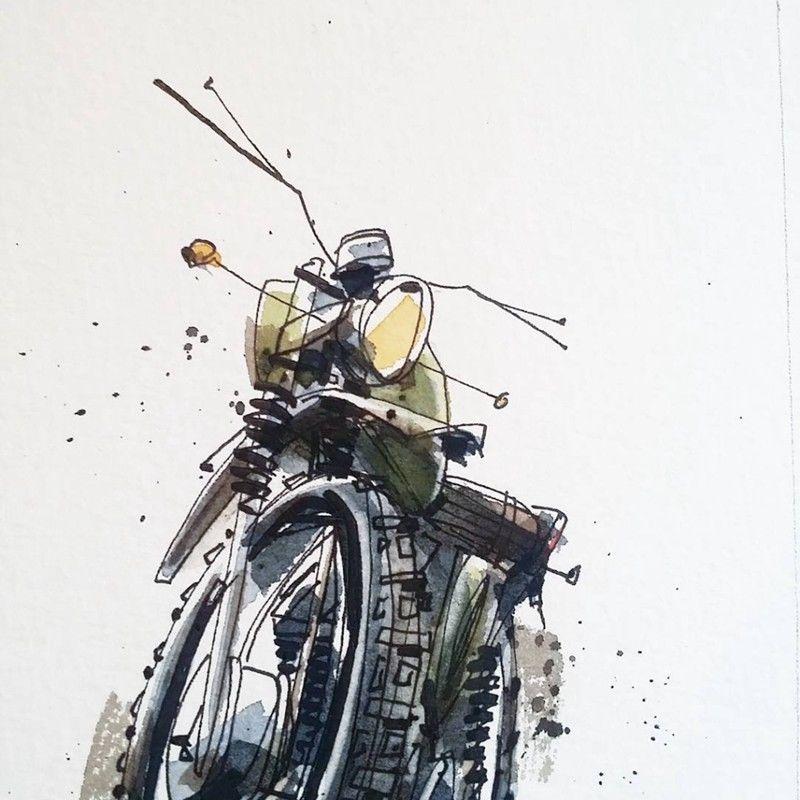 插画师@tomaspajdlhauser的钢笔画手绘作品,很帅的越野摩托车,很想