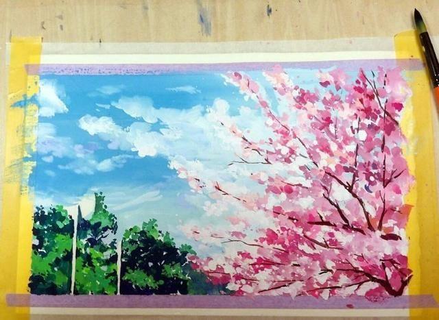 日本风景水彩画教程,动漫中的场景用笔画出来好美