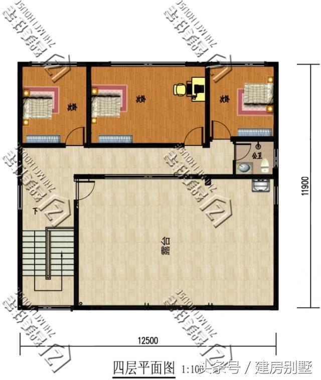 农村建房三间三层,一层130平,一层楼梯,厨房,卫生间放在什么位 装饰图片