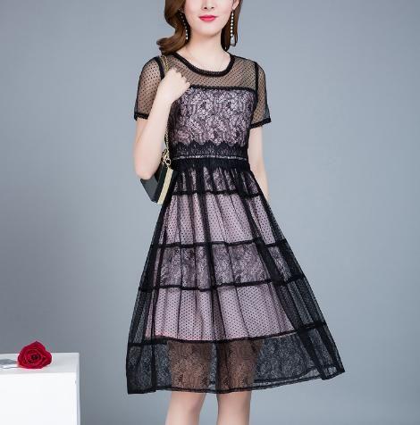 网纱连衣裙夏季中长款短袖蕾丝连衣裙收腰气质裙子