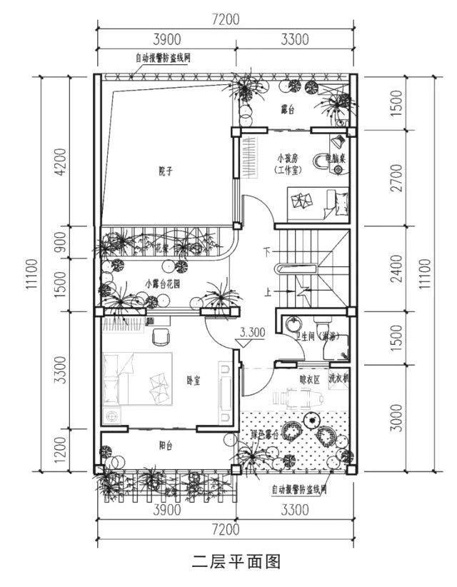 20万占地80平方米二层双拼别墅设计图