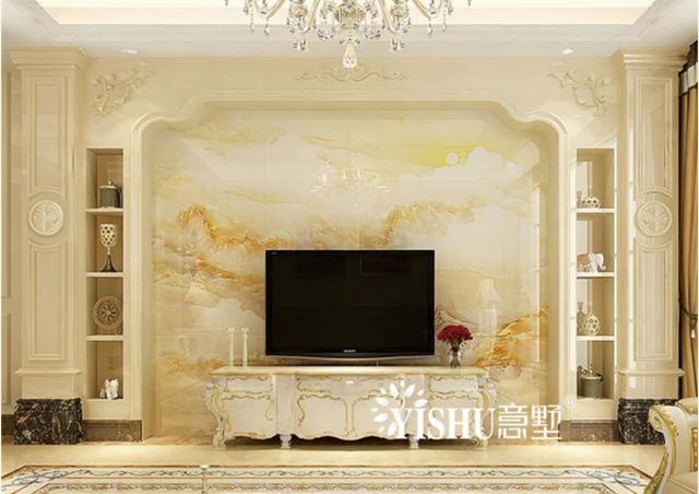 欧式酒柜式石材罗马柱 大理石瓷砖电视背景墙,客厅时尚轻奢范!