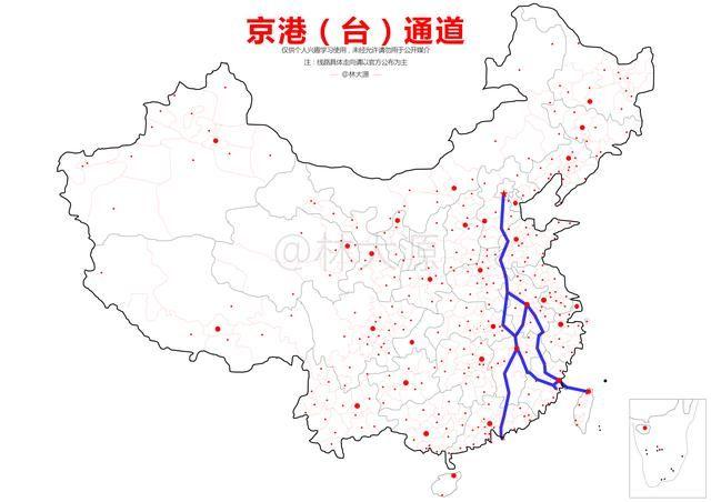 """""""京港(台)通道""""线路示意图 其中,包括以下支线高铁: 合肥-福州-台北"""