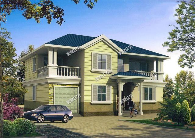 简欧风格采用坡屋顶,外观造型简洁大方,色彩明快,房间尺度设计适宜14.