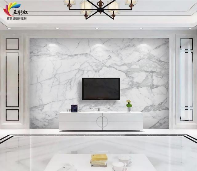 3,金属线条镶嵌石材护墙板搭配微晶石背景墙装修效果图