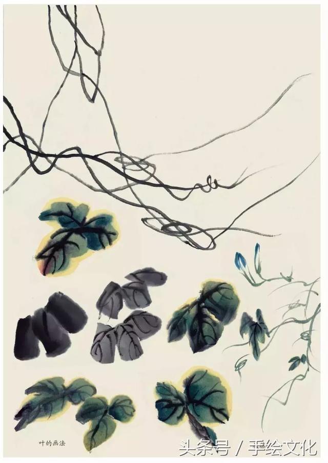 紫藤花及桃花的国画写意的画法分解