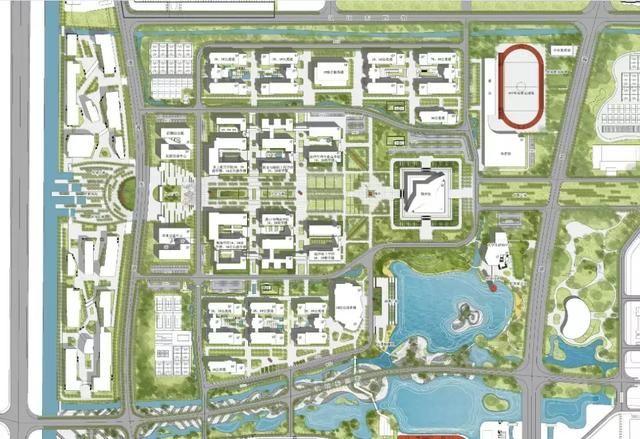 大学教学生活区设计图 大学规划面积3000亩,包括山东(潍坊)公共实训