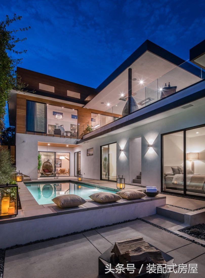 歐式大氣簡約豪華落地大玻璃私人預制別墅設計圖欣賞