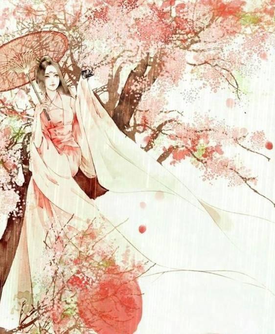 古风带剑女子手绘