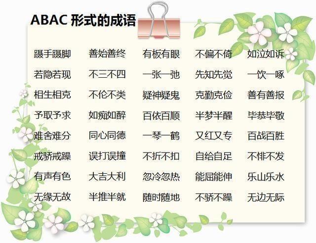 小学语文:ABB+ABAB+ABCC式成语,打印下来