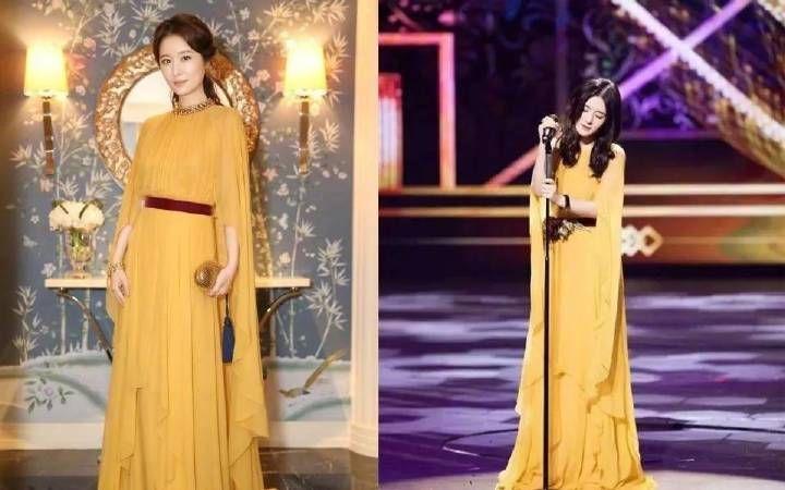谢娜和林心如同穿黄色长裙,女神范十足,网友却说她赢在小心机上图片