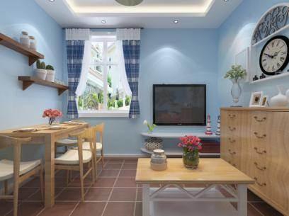 这张客厅电视背景墙装修效果图,采用灰色的砖墙圆润框架做为装饰