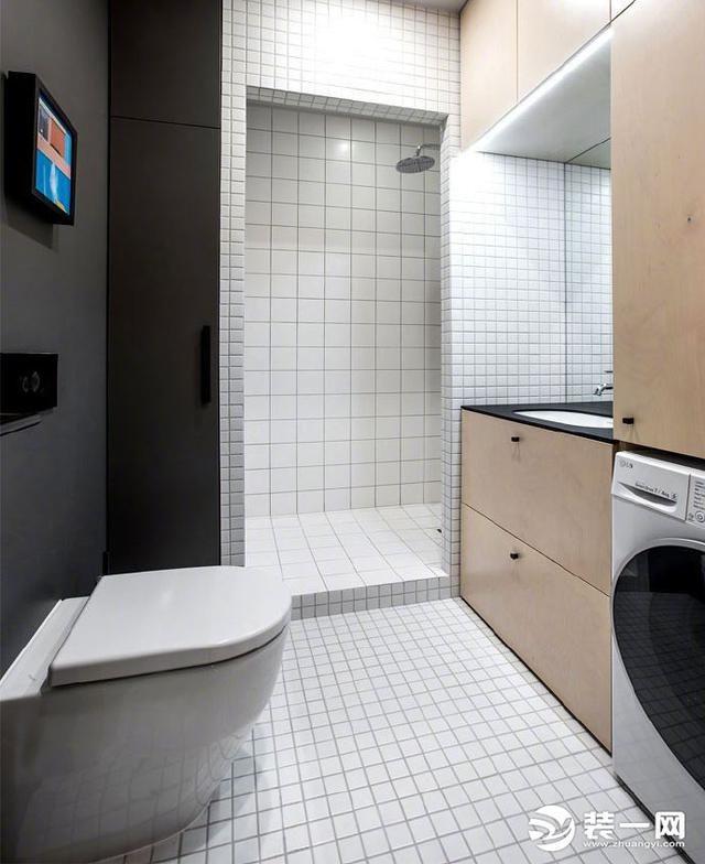 空间虽小,但也可以设计干湿区域,洗衣机可以嵌入式设计,合理布局空间图片