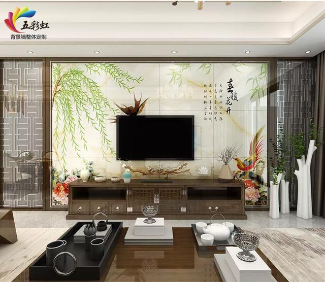 5,现代新中式客厅电视背景墙装修效果图