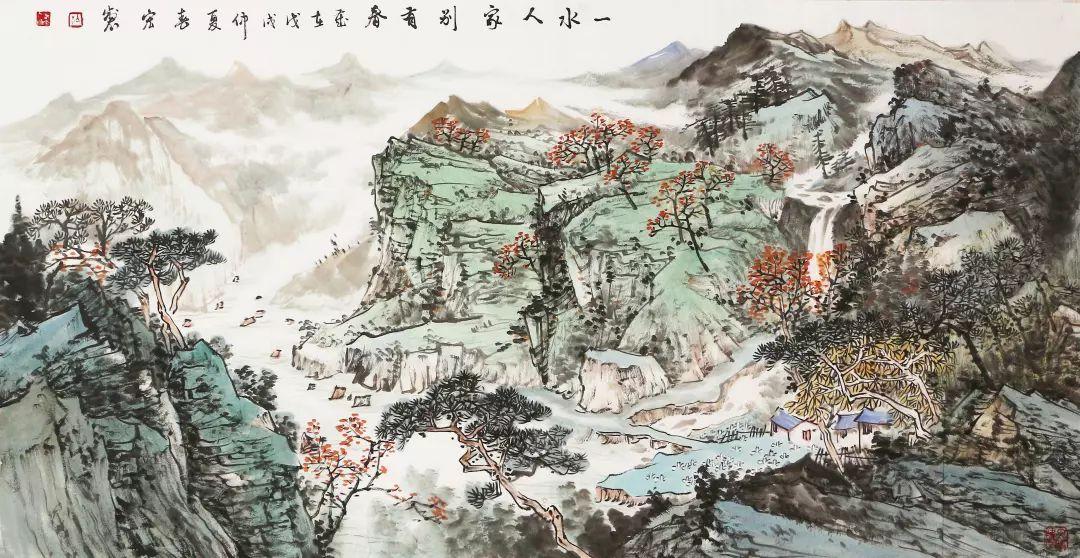 广西省美协会员 梁春宏 山水 国画 137*69cm