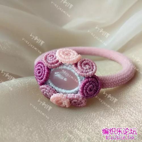 中国结艺术编织教程,手工diy绳编粉色玉髓发圈图解,宝