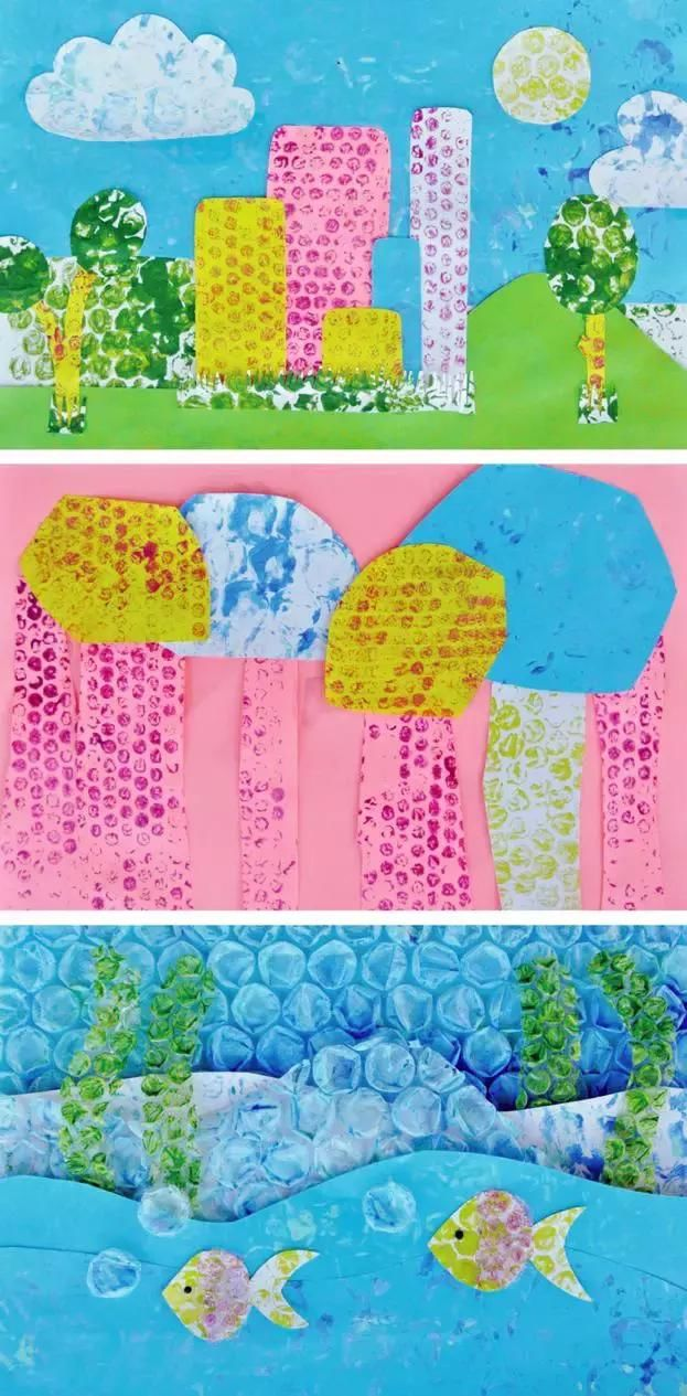 突然觉得以前真的好浪费!气泡膜涂鸦画板简单的一块气泡膜,可以给孩子直接当成画板,像这样,用水彩涂鸦气泡膜规则的点阵排布,可以帮助孩子对图形进行分解认识,是很好的一种早教工具除了图形的感触与认知,还有各种色彩搭配快来猜猜,这是什么图案画完之后,可以教孩子把图案印在...