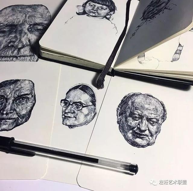 反映绘画者的内心 我们很难观察出具体的绘画步骤 gaia alari用圆珠笔
